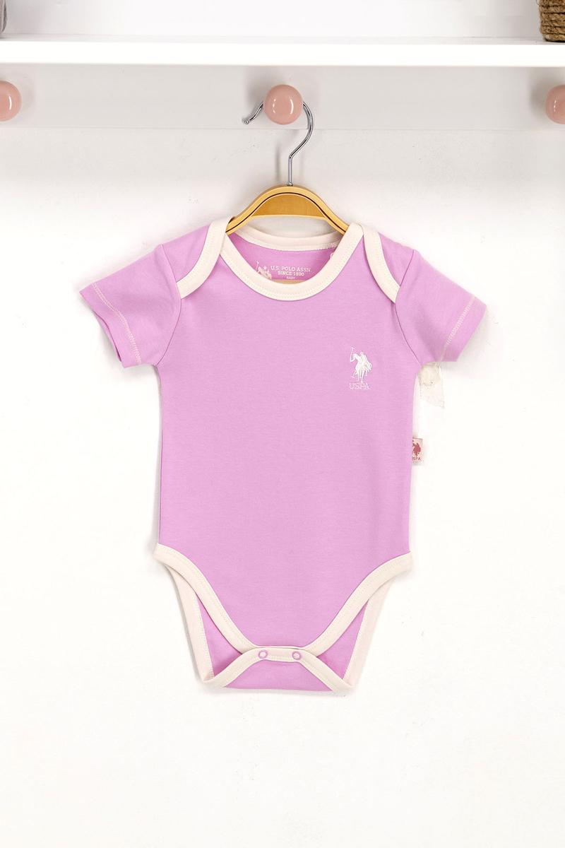 U.S. Polo Assn - U.S. Polo Assn Lisanslı Lavanta Bebek Body Zıbın