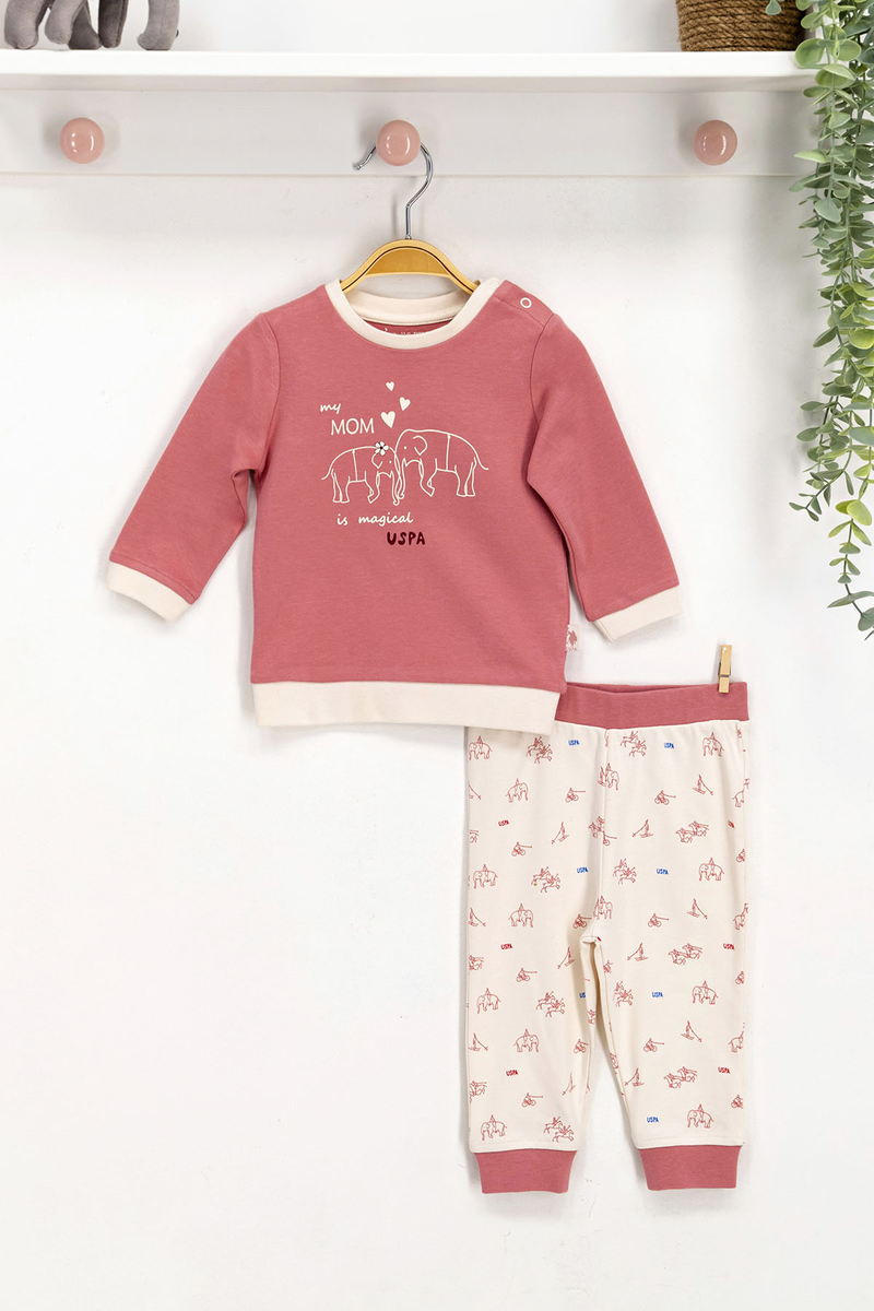 U.S. Polo Assn - U.S. Polo Assn Lisanslı Pembe Bebek Takım