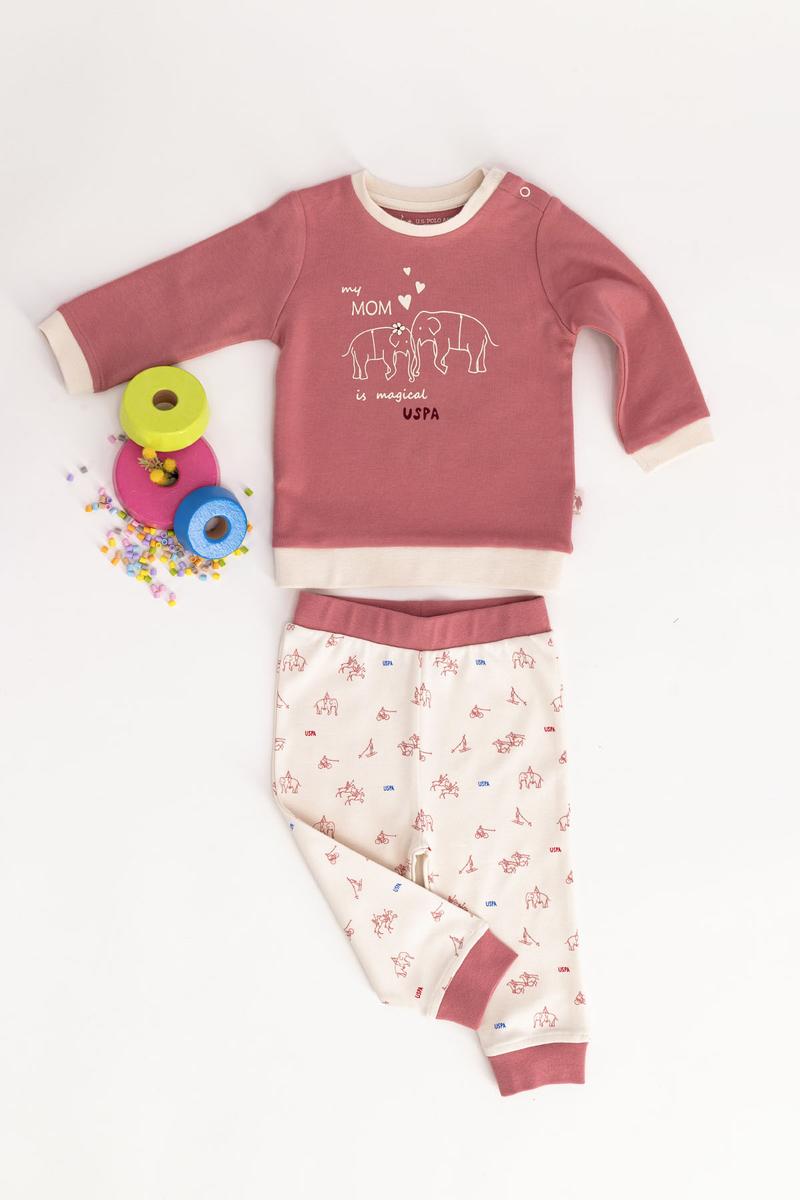 U.S. Polo Assn - U.S. Polo Assn Lisanslı Pembe Bebek Takım (1)