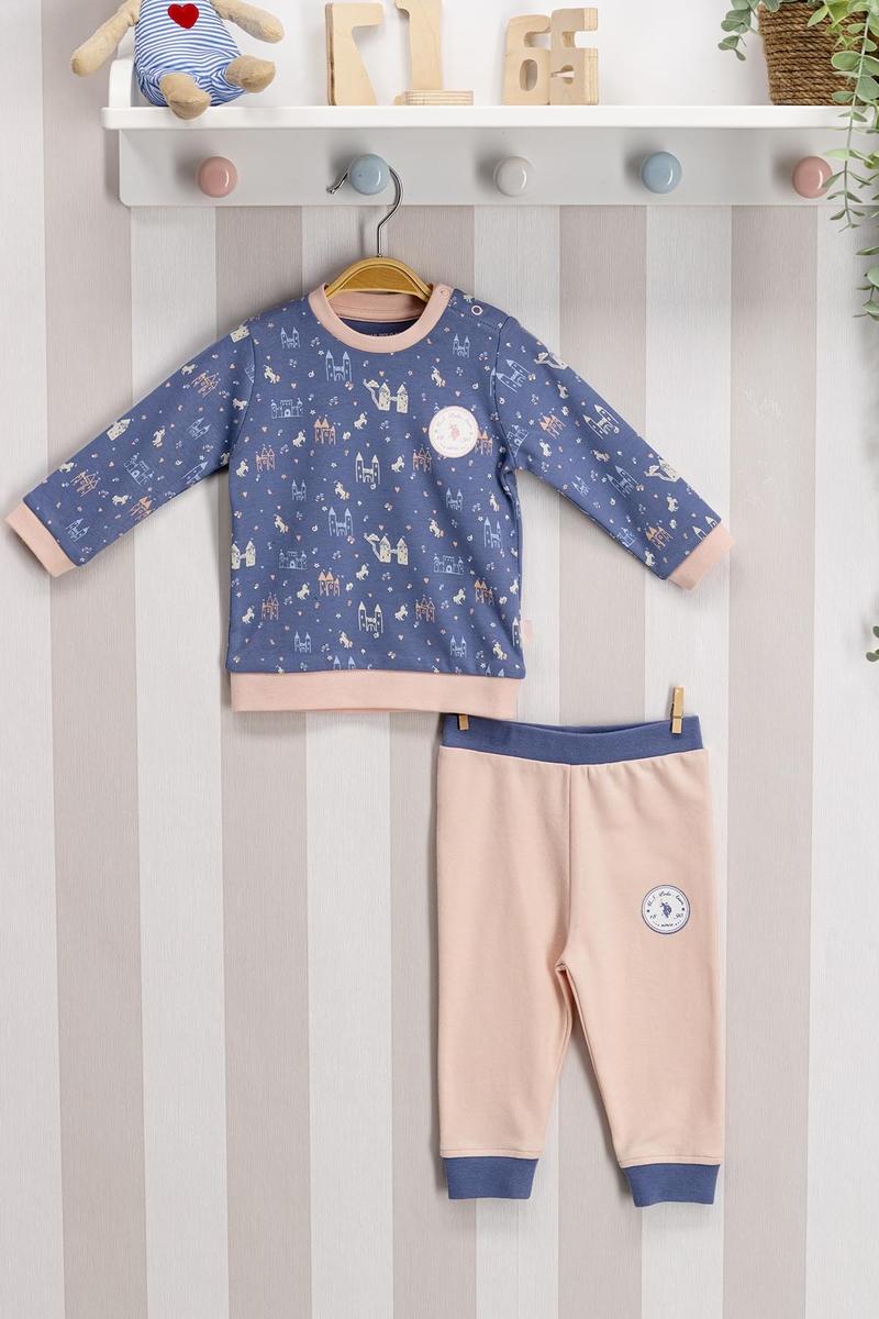 U.S. Polo Assn - U.S. Polo Assn Lisanslı Mavi Bebek Takım