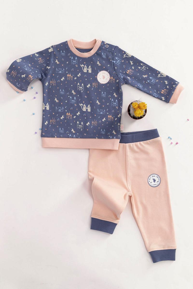 U.S. Polo Assn - U.S. Polo Assn Lisanslı Mavi Bebek Takım (1)