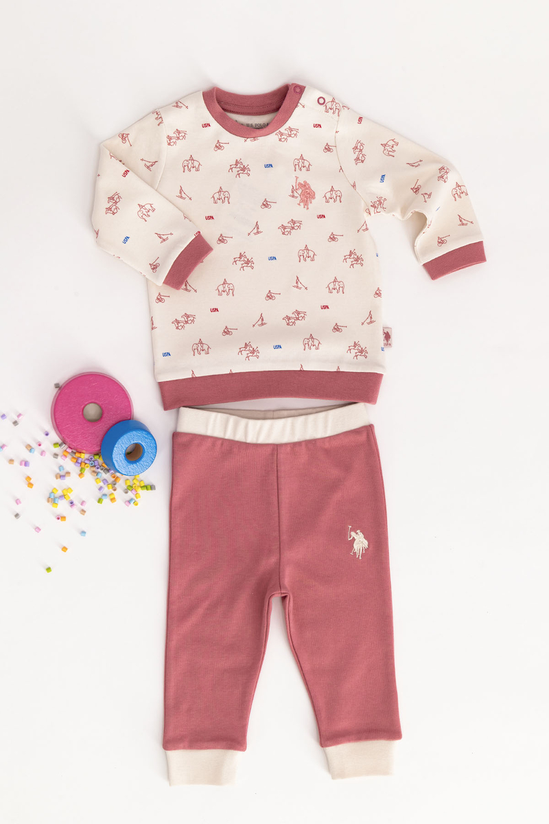U.S. Polo Assn - U.S. Polo Assn Lisanslı Vanilya Bebek Takım (1)