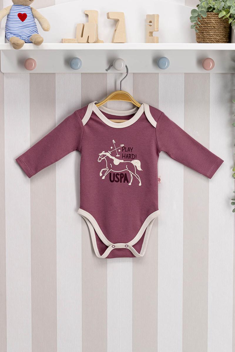 U.S. Polo Assn - U.S. Polo Assn Lisanslı Mürdüm Bebek Body Zıbın