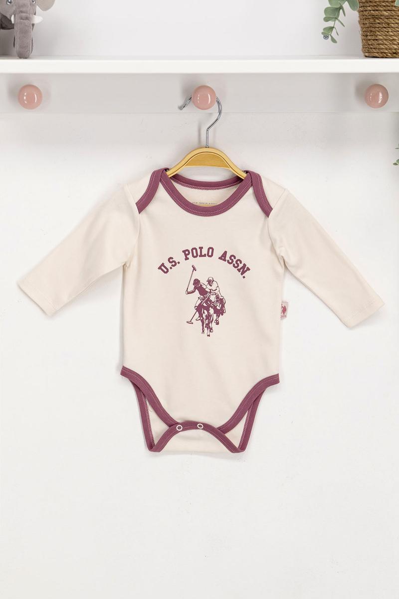 U.S. Polo Assn - U.S. Polo Assn Lisanslı Vanilya Bebek Body Zıbın