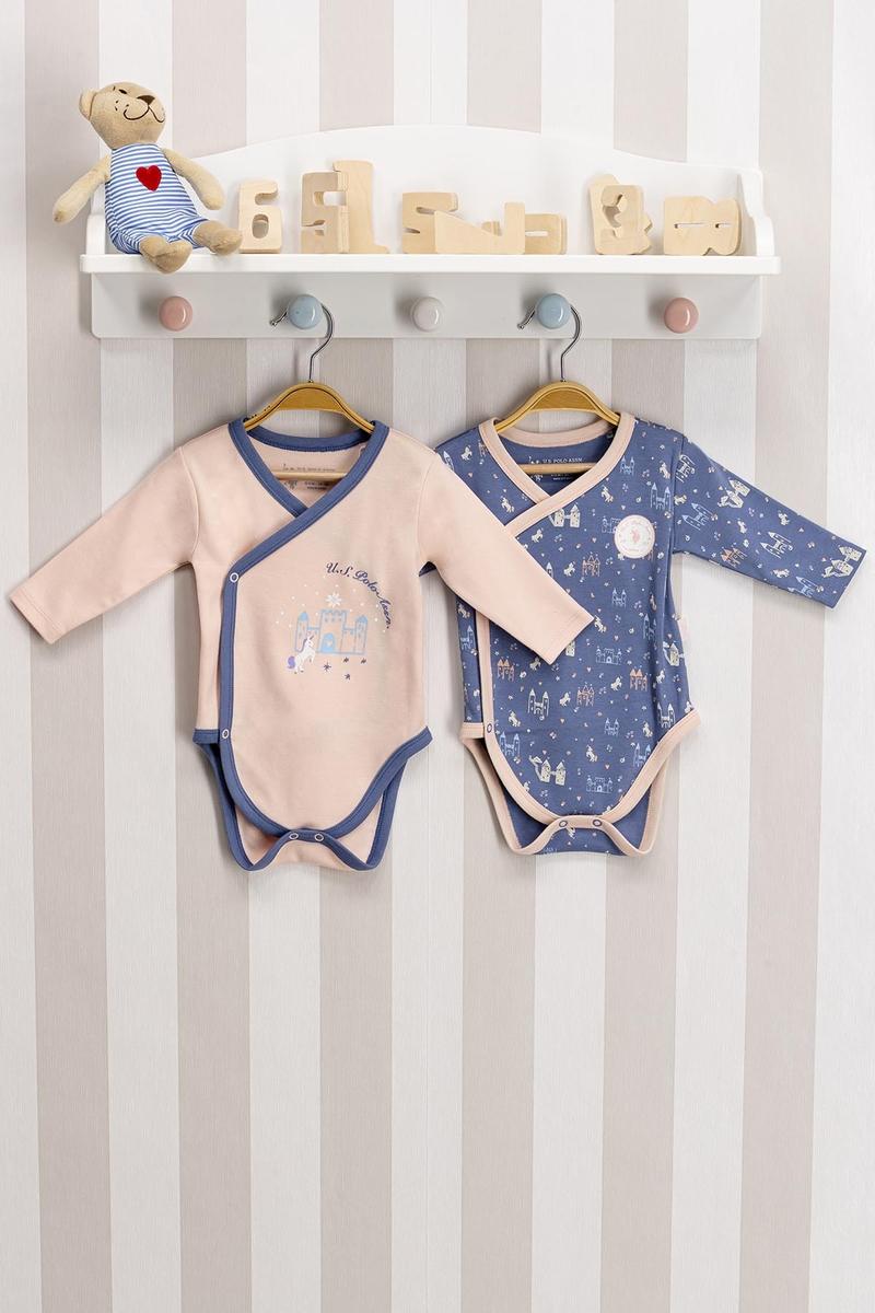 U.S. Polo Assn - U.S. Polo Assn Lisanslı Somon Mavi Bebek 2'Li Body Zıbın