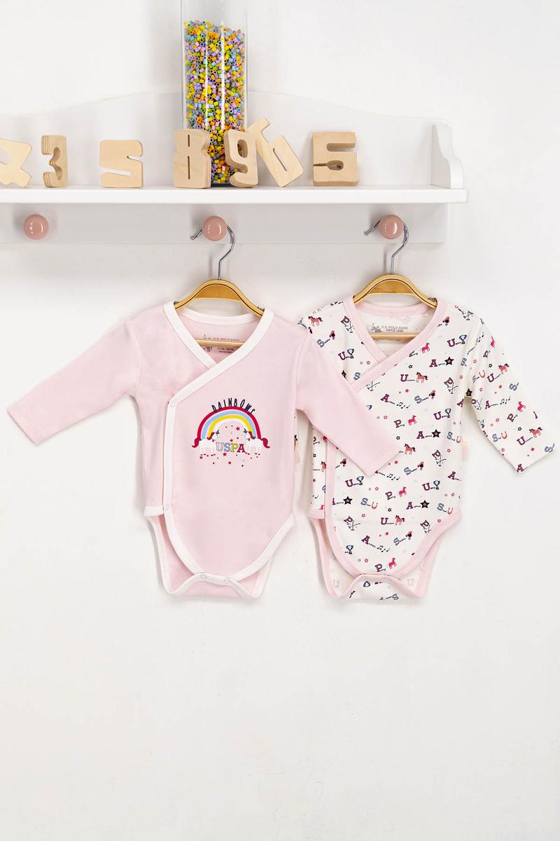 U.S. Polo Assn - U.S. Polo Assn Lisanslı Tozsomon Krem Bebek 2'Li Body Zıbın