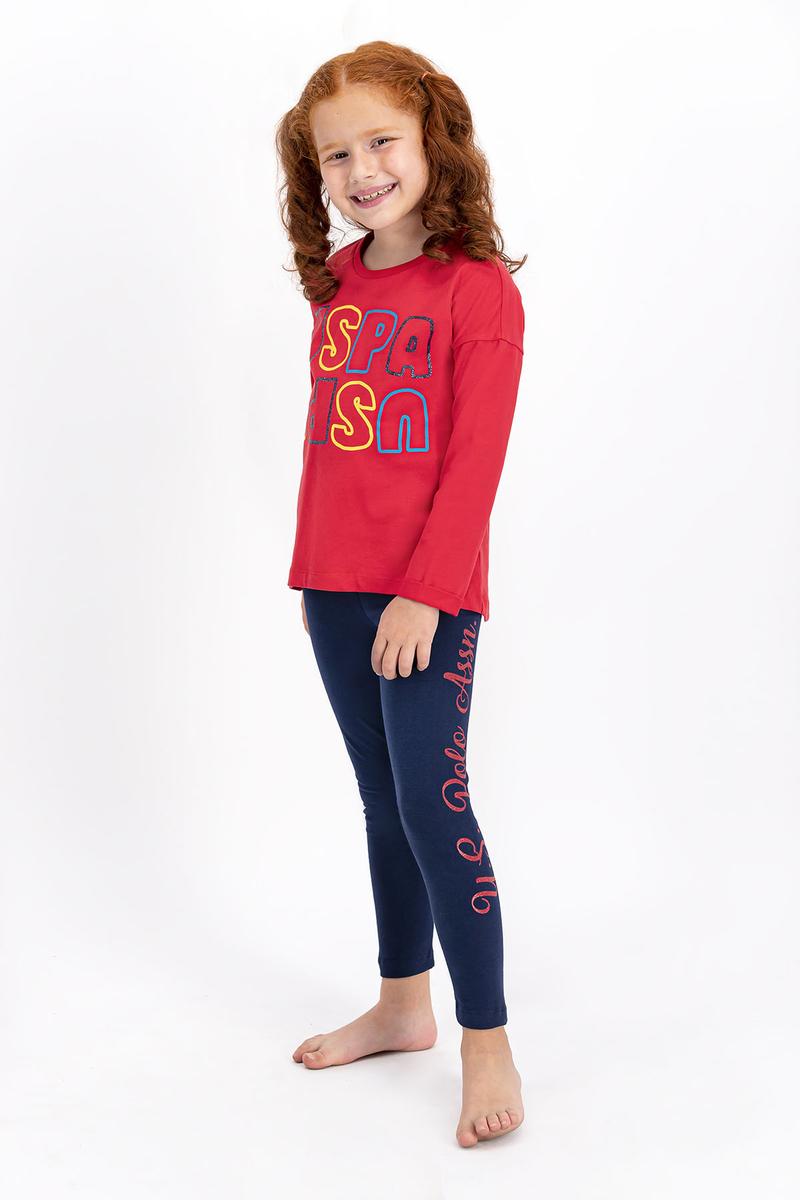 U.S. Polo Assn - U.S. Polo Assn Lisanslı Açık Kırmızı Kız Çocuk Tayt Takım