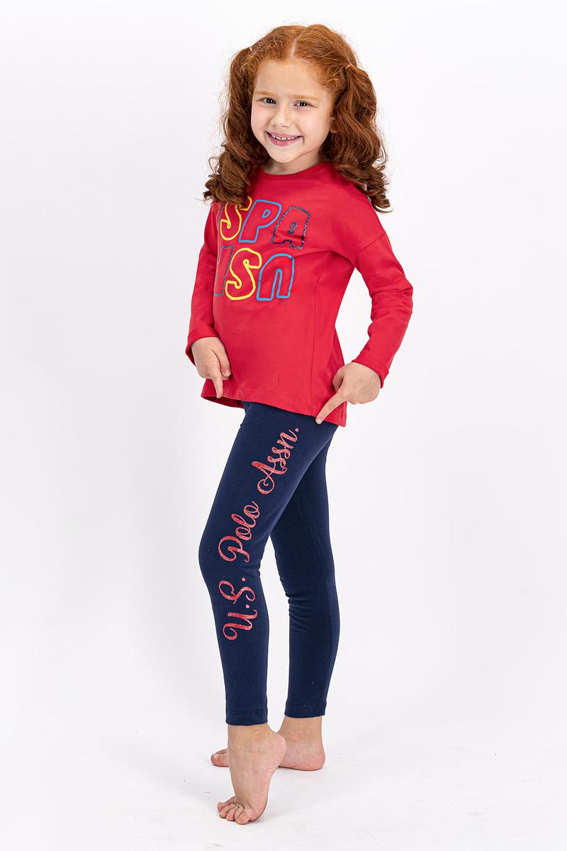 U.S. Polo Assn - U.S. Polo Assn Lisanslı Açık Kırmızı Kız Çocuk Tayt Takım (1)