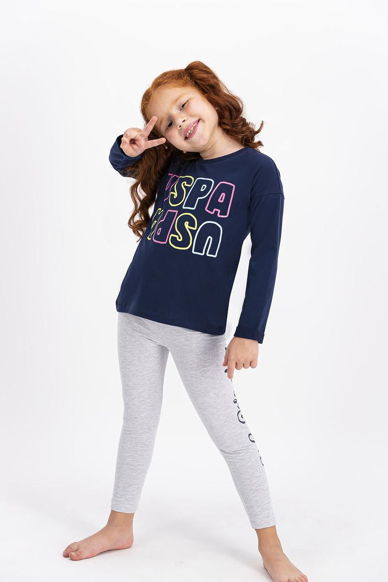 U.S. Polo Assn - U.S. Polo Assn Lisanslı Lacivert Kız Çocuk Tayt Takım