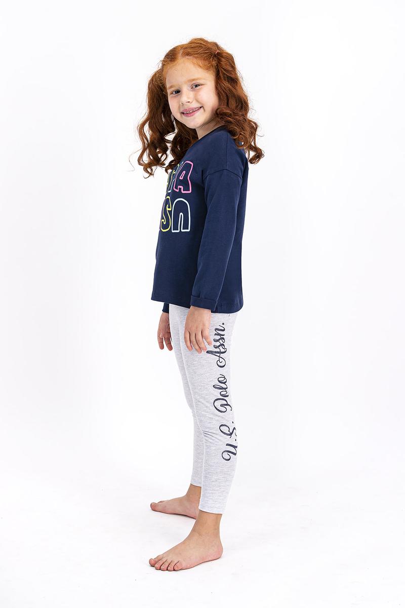 U.S. Polo Assn - U.S. Polo Assn Lisanslı Lacivert Kız Çocuk Tayt Takım (1)