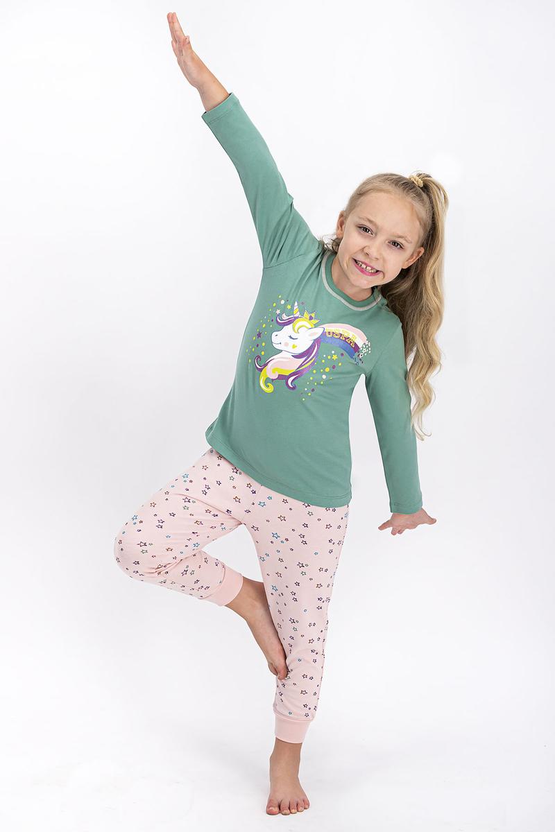 U.S. Polo Assn - U.S. Polo Assn Lisanslı Mat Yeşil Kız Çocuk Pijama Takımı
