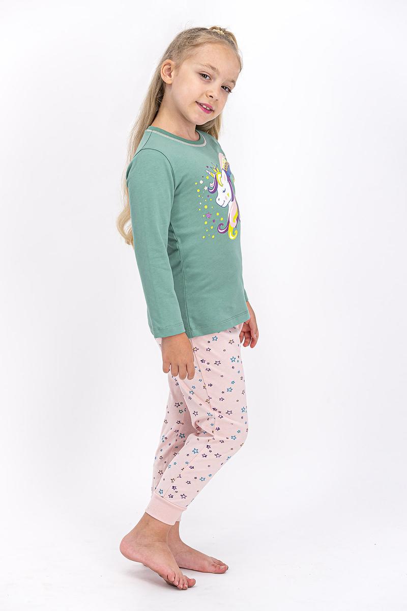 U.S. Polo Assn - U.S. Polo Assn Lisanslı Mat Yeşil Kız Çocuk Pijama Takımı (1)