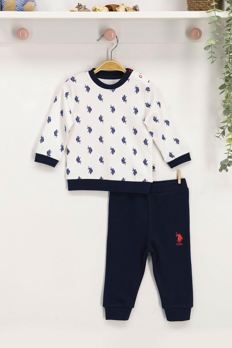 U.S. Polo Assn - U.S. Polo Assn Lisanslı Krem Bebek Takım