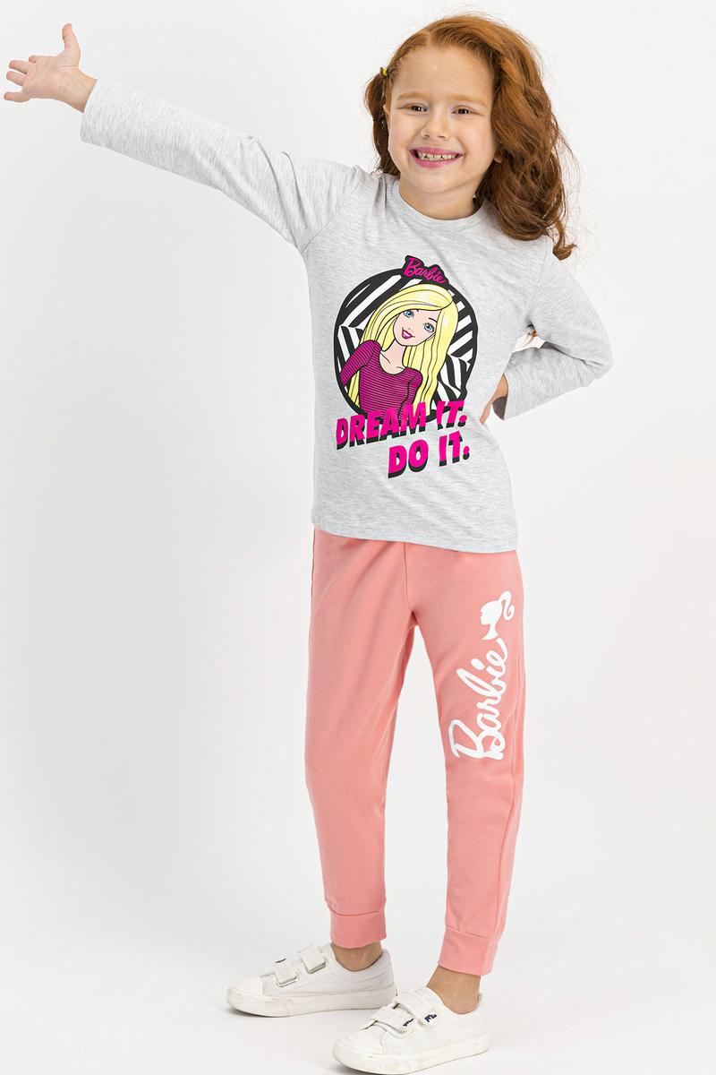 Barbie - Barbie Lisanslı Kız Çocuk Pijama Takımı İnci Pembe Nil Yeşil