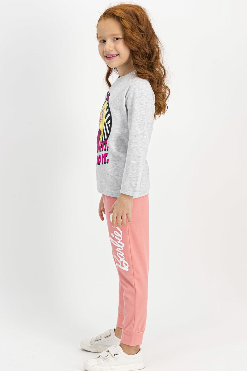 Barbie - Barbie Lisanslı Kız Çocuk Pijama Takımı İnci Pembe Nil Yeşil (1)